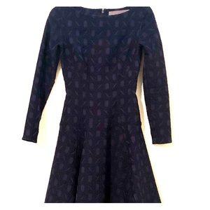 Lela Rose Fit and Flare Full Sleeve Dress